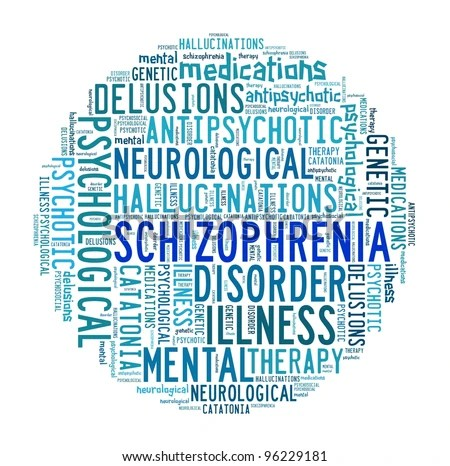 Schizophrenia in word collage - stock photo