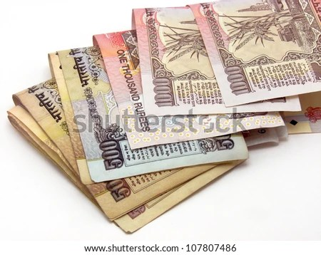 Image showing folded Indian notes of 500 & 1000 Rs.