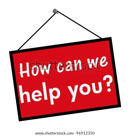 stock photo : A red, white and black sign with the words How can we help you isolated on a white background