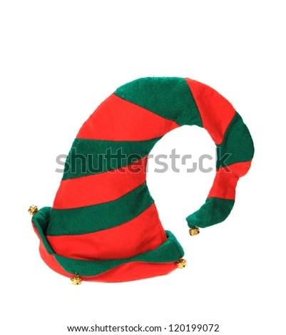 Christmas elf hat on white background - stock photo