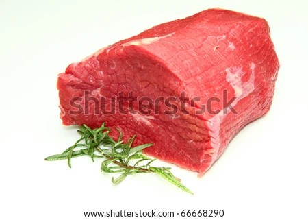 stock photo : huge red meat chunk isolated over white background