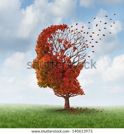 Brain disease with memory loss due to Dementia and Alzheimer's illness as a medical icon of an autumn season  tree shaped as a human head and brain losing leaves as a concept of intelligence decline. - stock photo