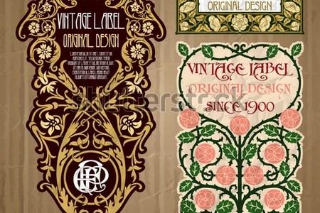 Art Nouveau Floral Patterns And Stencil Designs In Full Color Deco Design Set