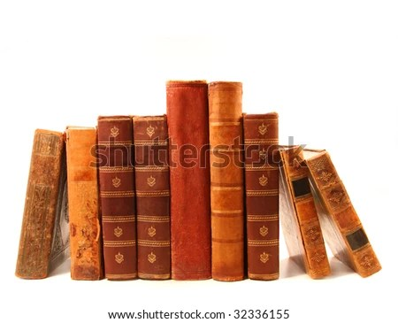 stock photo : Old antique books against a white background
