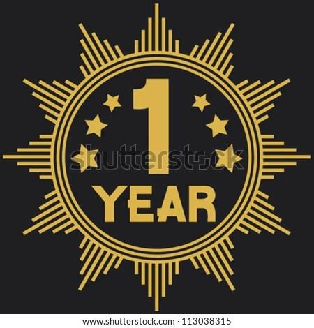1 year symbol (one year anniversary, 1 year jubilee) - stock vector