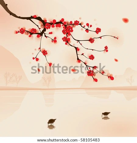 stock vector : Oriental style painting, plum blossom above the water with birds drinking water in Spring. Vectorized brush painting.