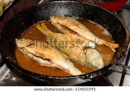 pan fried perch - stock photo