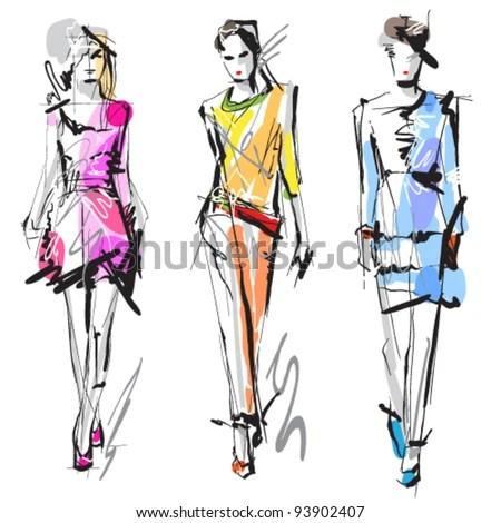 Fashion models. Sketch. - stock vector