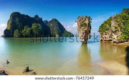 Phang Nga Bay, James Bond Island, Thailand - stock photo