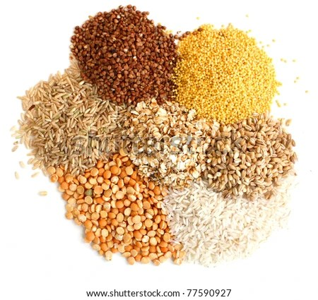 stock photo : Different kinds of grain, rice, peas, rye, millet,  an oats, millet, barley.