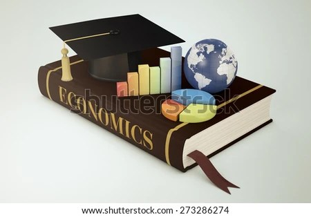 one book with a mortar board, financial charts and a world globe, concept of faculty of economics (3d render) - Elements of this image furnished by NASA
