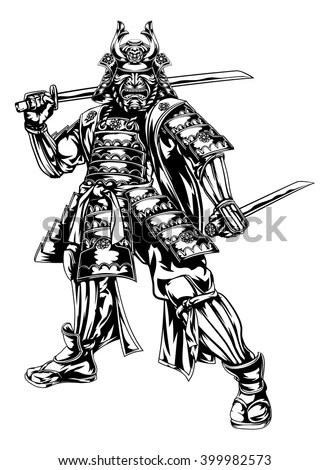 An Illustration Of A Japanese Samurai Warrior Holding Two