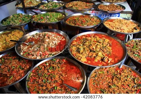 Thai Food at Street Market - stock photo