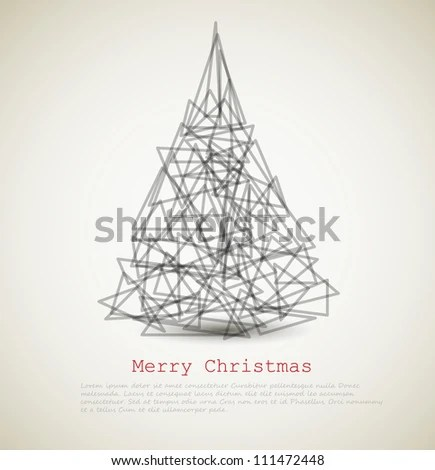 Vector Modern Card With Abstract Christmas Tree On A Light