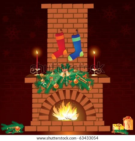 stock vector : Christmas fireplace and socks