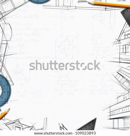 architect constructor designer background illustration - stock photo