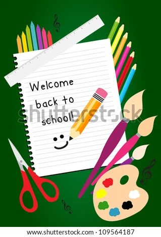 Welcome Back To School Greeting Card With Colorful Pencils