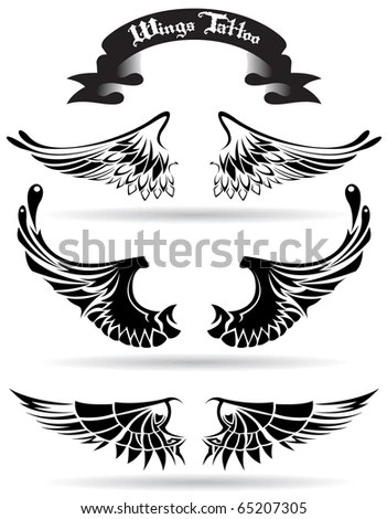 U.S. Series Starter Tattoo Set tattoo kit stock vector : wings set tattoo