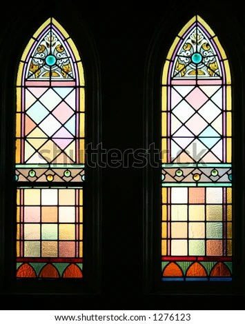 Pair Of Backlit Gothic Stained Glass windows