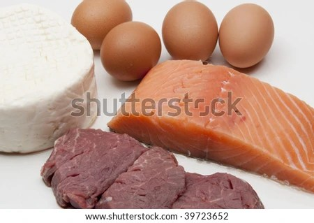 stock photo : Some exemples of animal protein, eggs, cheese, fish, and