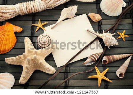 Marine theme still life with empty card. - stock photo