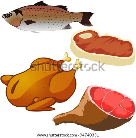 stock vector : meat isolated on white background