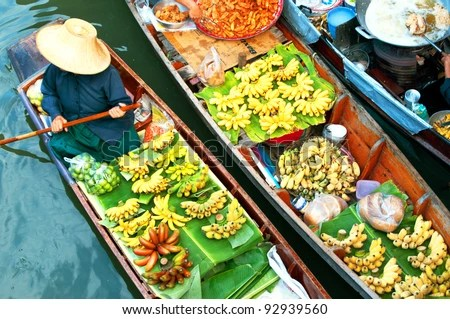 Traditional floating market , Thailand. - stock photo