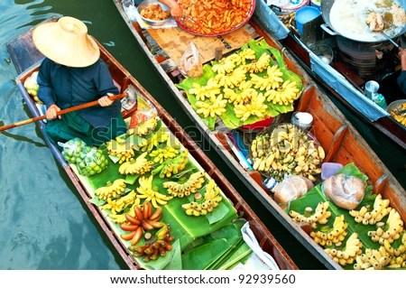 Traditional floating market , Thailand. - stock photo