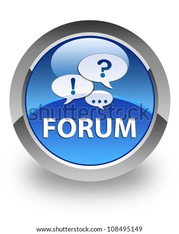 Forum icon on glossy blue round button - stock photo