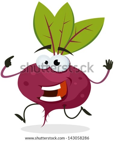 Cartoon Happy Beet Character/ Illustration of a funny happy cartoon red beet vegetable character running - stock vector