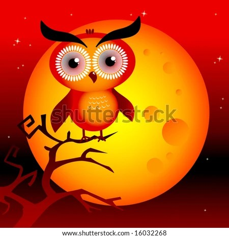 stock vector : Halloween spooky moon with owl on a branch and dark red sky.