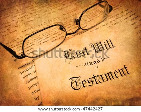 stock photo : Envelope with Last Will and Testament and Reading Glasses