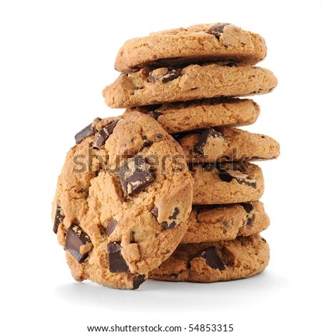 stock photo : Extreme close-up image of chocolate chips cookies