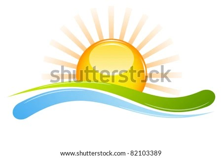 illustration of sunset view with island and sea beach - stock vector