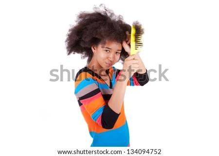 black african american teenage girl bing her afro hair isolated on white background stock