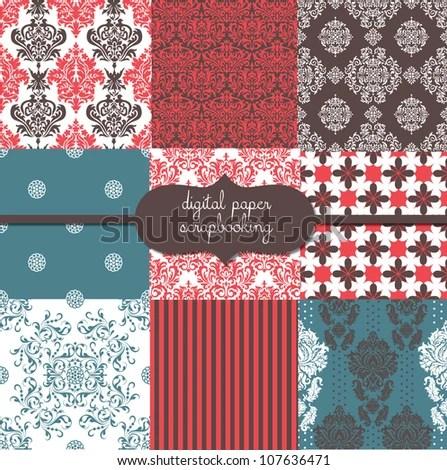 Damask Digital Scrapbook Paper Pack Stock Vector Illustration 107636471 : Shutterstock