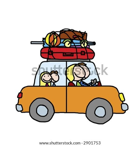 stock photo : Happy family of four traveling in a car on summer vacation