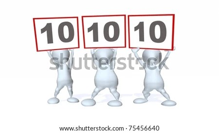 stock photo : 3d man panel of three judges holding up a perfect 10