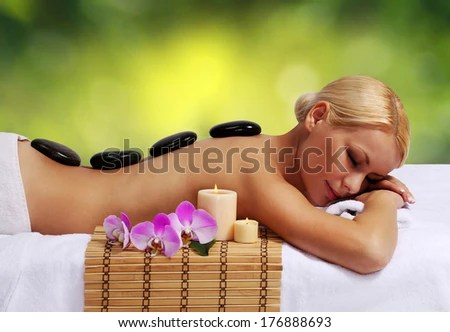 Spa Stone Massage Beautiful Blonde Getting Hot Stones Massage Stock Images Page Everypixel