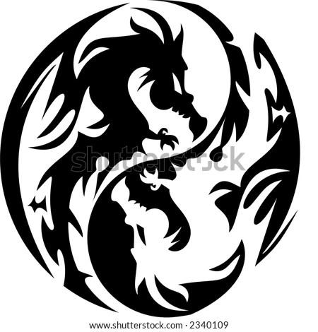 stock vector : tattoo dragon design