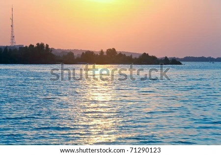 stock photo : River sunset view with sunlight path on water surface(Dnieper, Ukraine).