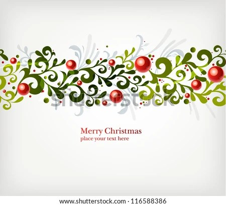 Christmas seamless ornament with branches and berries - stock vector
