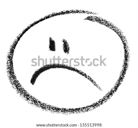 crayon painted unhappy smiley in white back - stock photo