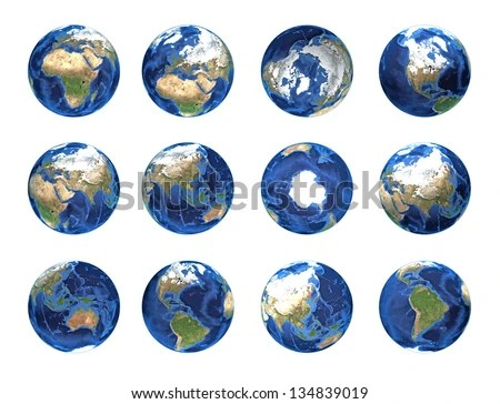 Set Of Planet Earth, Globe From Different Angles ...