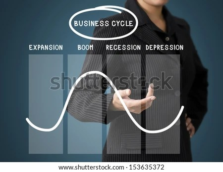 Business Woman Present Business Cycle - stock photo