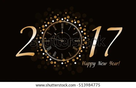Free Vector New Year Clock   Download Free Vector Art  Stock     New Year Clock 2017
