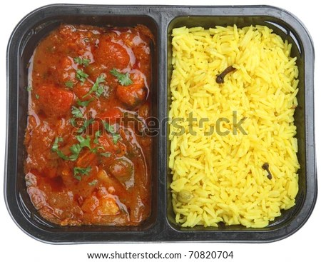 stock photo : Indian chicken curry with rice in supermarket packaging tray.