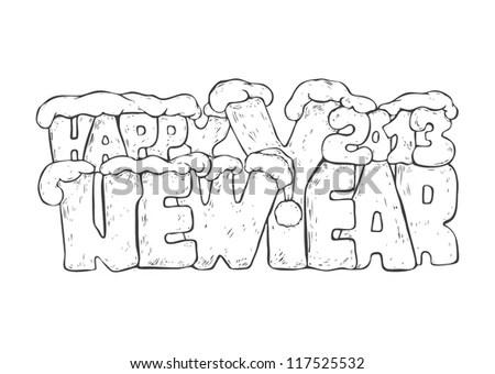 new year greeting drawing