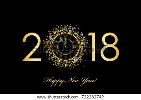 Free Vector New Year Clock   Download Free Vector Art  Stock     Vector 2018 Happy New Year background with gold clock on black