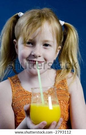 stock photo : Girl is drinking lemonade
